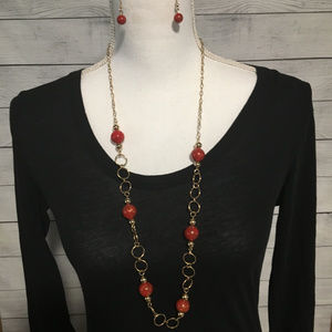 Vintage Paparazzi Red and Gold Necklace Set